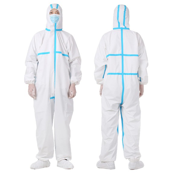 Reusable coveralls with blue line